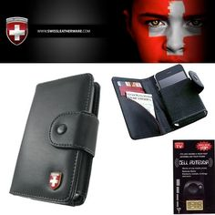 LG Viper Swiss Leatherware Black Wallet Credit Card Case. Genuine Leather holds your license, cash and cards. Back of case is smooth and No clip for easy storage in your pocket.
