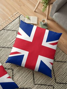 'UK Flag Union Jack' Floor Pillow by ArgosDesigns Throw Pillows Bed, Bed Throws, Decorative Throw Pillows, Floor Pillows, Thailand Travel, Bangkok Thailand, Hawaii Travel, Italy Travel, Great Britain Flag