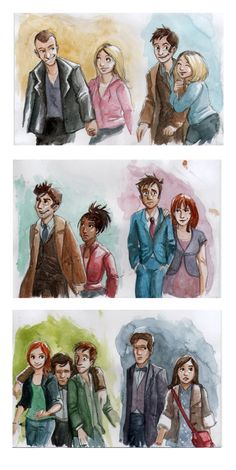New Doctors and Companions by ~Alda-Rana on deviantART  The Doctor becomes sadder as time goes by...