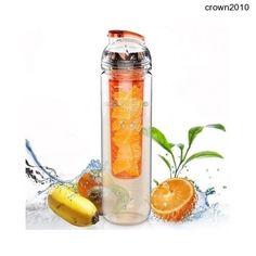 800ml Tritan Bottle Fruit Water Drink Infuser Orange BPA Free Flip Healthy Sport