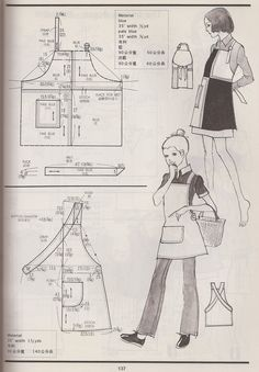 """The cross-back apron is actually pretty cute. """"examples of vintage aprons from the Kamakura-Shobo Publishing Co. Pattern Drafting books Vol. Sewing Aprons, Sewing Clothes, Diy Clothes, Retro Apron Patterns, Vintage Sewing Patterns, Dress Patterns, Japanese Apron, Japanese Sewing, Diy Couture"""