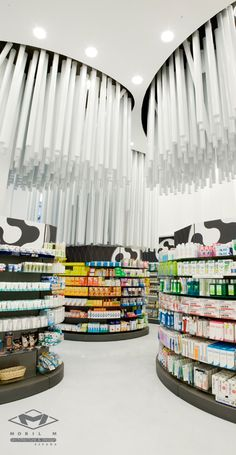 New Modern Pharmacy Interior Design – Conde Lumiares by Mobil M Commercial Design, Commercial Interiors, Displays, Retail Concepts, Retail Store Design, Store Interiors, Retail Interior, Interior Office, Environmental Design