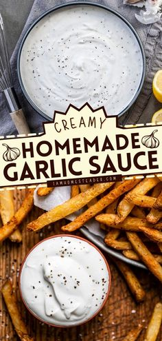 Garlic Sauce is a way to give your sour cream and mayonnaise a little kick! This homemade sauce idea is a creamy, garlicky, sour cream-based sauce that can be used as a dipping sauce. Pin this easy sauce recipe!