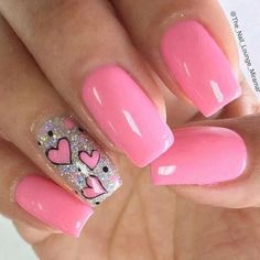 Easy Valentine's Day Nail Art Ideas 2019 easy valentine's day nail art ideas nail designs; acrylic easy valentine's day nail art ideas nail designs; Pink Nail Art, Cute Acrylic Nails, Glitter Nail Art, Cute Pink Nails, Acrylic Art, Heart Tip Nails, Heart Nail Art, Heart Nail Designs, Valentine's Day Nail Designs