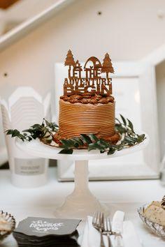 Adventure theme wedding, let the adventure begin cake topper, chocolate wedding cake