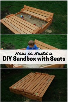 Kids will surely enjoy the last days of summer with this smart DIY sandbox with seats. It is a good place to learn, play and bond. Pallet Sandbox, Build A Sandbox, Wooden Sandbox, Kids Sandbox, Pallet Playhouse, Build A Playhouse, Sandbox Ideas, Sandbox Diy, Playhouse Ideas