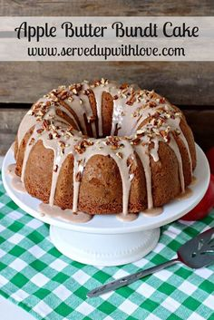 Served Up With Love: Apple Butter Bundt Cake- Fall inspired cake using apple butter and apple schnitz from Kauffman's Fruit Farm. #ad #kaufmannsfruit farm. http://www.servedupwithlove.com