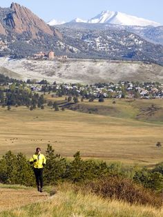 A trail runner on Marshall Mesa outside Boulder, Colorado