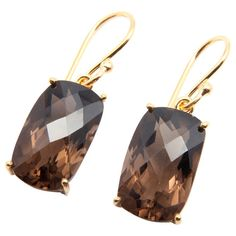 Faceted Smoky Quartz Gold Plated Earrings by SitaraCollections