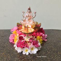 Rangoli Designs Flower, Rangoli Ideas, Flower Rangoli, Diwali Decorations At Home, Ribbon Decorations, Festival Decorations, Ganesh Chaturthi Decoration, Diwali Pooja, Home Flower Arrangements