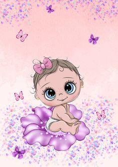 Cute Cartoon Girl, Baby Cartoon, Designer Baby, Cute Images, Cute Pictures, Baby Motiv, Scrapbook Bebe, Baby Girl Elephant, Baby Painting