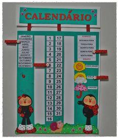 Calendário em eva com prendedores para destacar mês, dia da semana, dia do mês e tempo. Faço kit com outras peças no mesmo tema, consulte!