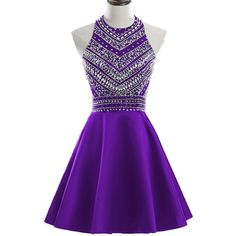 HEIMO Women's 2017 Sparkly Beaded Homecoming Dresses Sequined Prom... ($95) ❤ liked on Polyvore featuring dresses, gowns, purple evening dress, short homecoming dresses, sequin gown, purple gown and beaded gowns