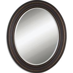 Uttermost 14610 Ovesca Oval Weathered Metal Oval Mirror Dark Oil Rubbed Bronze with Gold Highlights Home Decor Mirrors Lighting