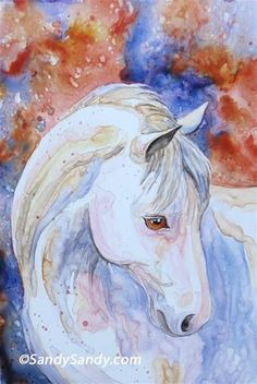 """A Lovely Horse"" - Original Fine Art for Sale - $169.00 - © Sandy Sandy - See more about this painting here:  http://www.sandysandyart.com/2013/04/a-lovely-horse-is-emotional-experience.html"