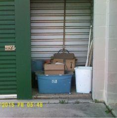 5x5. Tubs, CDs, Broom, Briefcase, Ironing Board. #StorageAuction in Denton (312). Lien Sale.