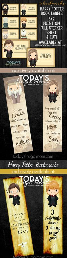 Printable Harry Potter Bookmarks + Book Labels, DIY and Crafts, Come grab these adorable Harry Potter Book Labels + Bookmarks for your HP fan! Exclusively found at Welcome to the Family Table™. Party Harry Potter, École Harry Potter, Harry Potter Bookmark, Mundo Harry Potter, Harry Potter Classroom, Harry Potter Birthday, Harry Harry, Dyi Couture, Harry Potter Printables