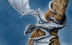 Preview wallpaper dragon, tree, wings, entwining
