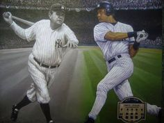 """Yankees Passing the Torch"" by renowned artist Doo S. Oh.  Please like our Art page here: https://www.facebook.com/pages/Art-Gallery/274426979409535?ref=hl"