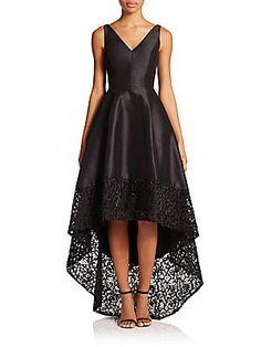 ML Monique Lhuillier V-Neck Hi-Lo Dress