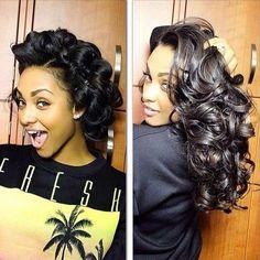 Voluminous pin curls on long hair Love Hair, Gorgeous Hair, Weave Hairstyles, Straight Hairstyles, Black Hairstyles, Wedding Hairstyles, Bridal Hairstyle, Updo Hairstyle, Ponytail Hairstyles