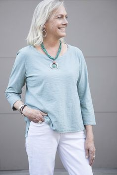 Cut Loose Crop Tee in Agave | fab over 50 | women's clothing | style | spring 2017 | fashion | turquoise necklace | Cut loose clothing | boutique shop