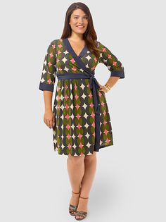 Geo Print Wrap Dress by mm2,Available in sizes XL,1X/2X/3X and 4X