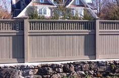 Tongue and Groove Fence with Lattice Top on Stone Wall. Patio Fence, Backyard Pergola, Pergola Plans, Backyard Landscaping, Front Fence, Yard Fencing, Front Gates, Metal Pergola, Pergola Kits