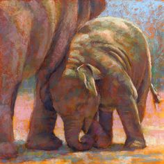E is for Elephant by Rita Kirkman Pastel ~ 10 x 10 inches