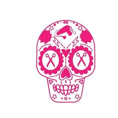 Free shipping on this awesome sugar skull cosmetology design. This one in hot pink #cosmetology #hair #hotpink #scissors #friday #blowdryer #beautician #salon #salondecor #awesome #decal #haircare #salonlife #lifeofahairstylist #salonline #etsy #shop
