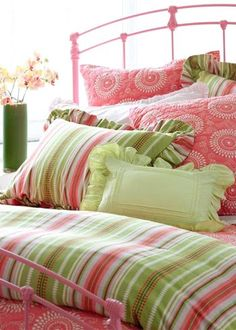 mixed pattern pink and green bedding, bedroom decor Decor, Green Bedding, Childrens Beds, Home Decor, Girl Room, Bed, Shabby Chic Bedrooms, Beautiful Bedding, Green Home Decor