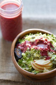 cranberry basil honey vinaigrette + brussel sprout salad   edible perspective