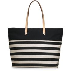 Stella & Dot The Hudson Tote Large - Black/Cream Clean Stripe ($118) ❤ liked on Polyvore
