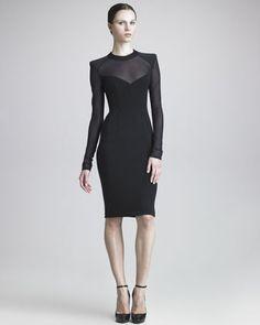Sheer-Paneled Sheath Dress by Donna Karan at Bergdorf Goodman.