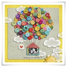 #papercraft #scrapbook #layout.  buttonit:  (via Inspiration du Jour | Thanks for the Adventure · Scrapbooking | CraftGossip.com)