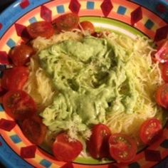 Spaghetti Squash with avocado sauce and tomatoes | MyRecipes.com