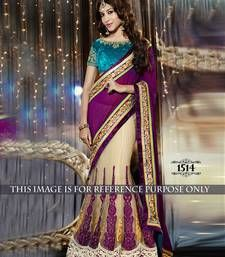 Buy Purple embroidered Georgette saree With Blouse bollywood-saree online
