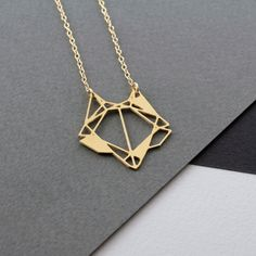 Geometric fox head necklace fox necklace by WildThingStudio