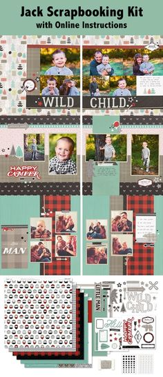 Jack Scrapbooking Kit with online instructions | Close to my heart workshops your way jack scrapbooking kit | Boy scrapbook pages | camping scrapbook pages | little man scrapbook pages