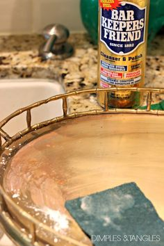 Bar Keeper's Friend, makes cleaning brass amazingly easy!