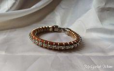 DIY Wire Wrapped Rhinestone Leather Bracelet | My Girlish Whims