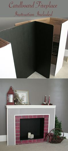 Cardboard fireplace from trifold display boards                              …