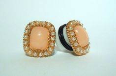 Vintage+Style+Plugs+/+Gauges.+Square+Peach+Stone+by+TheGaugeQueen,+$20.00