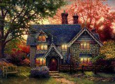thomas kinkade gingerbread cottage