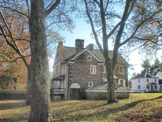 A Bucks County, Pennsylvania home. Beautiful Places To Visit, Places To See, Stone House Revival, Bucks County Pennsylvania, House On The Rock, Back Road, Old Stone, Stone Houses, Types Of Houses
