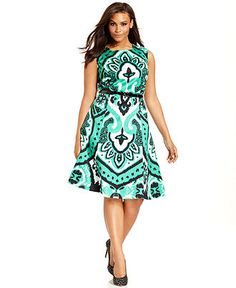 INC International Concepts Plus Size Dress, Cap-Sleeve Printed A-Line - Plus Size Dresses - Plus Sizes - Macy's