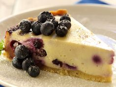 Baked Cheesecake with Blueberries : Recipes : Cooking Channel No Bake Blueberry Cheesecake, Blueberry Recipes, Cheesecake Recipes, No Cook Desserts, Just Desserts, Delicious Desserts, Dessert Recipes, Sweet Desserts, Dessert Ideas