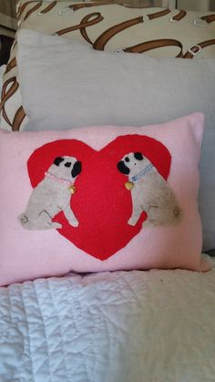 Handmade PUG Valentine Heart Accent Pillow 11 x by PUGHALLVINTAGE   SOLD!!