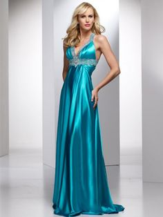 Sexy A-line Straps Beading Sleeveless Floor-length Silk like Satin Prom Dresses
