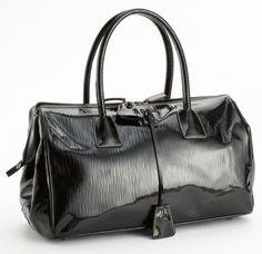 Prada Black Patent Leather Bowling Bag